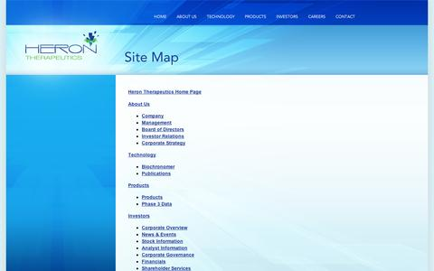 Screenshot of Site Map Page appharma.com - Heron Therapeutics . A Specialty Pharmaceutical Company - captured Sept. 10, 2014