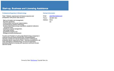 Screenshot of Home Page biomatlock.com - Start-up, Business and Licensing Assistance - captured Oct. 1, 2014