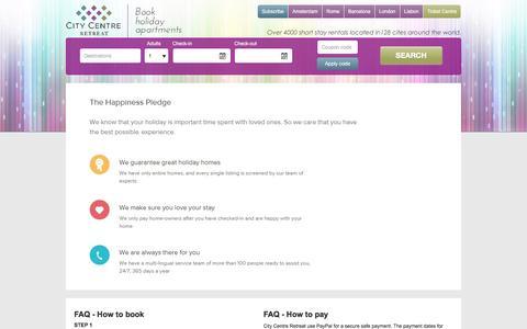 Screenshot of FAQ Page citycentreretreat.com - FAQ - captured Dec. 9, 2015