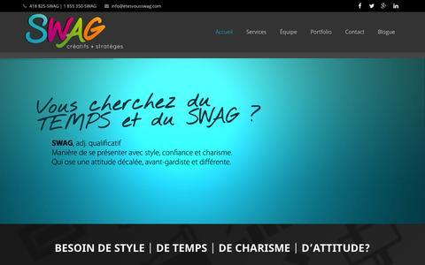 Screenshot of Home Page etesvousswag.com - SWAG créatifs + stratèges | Graphisme, web, impartition, comm et marketing - captured Oct. 1, 2014