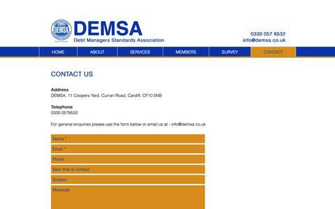 Screenshot of Contact Page demsa.co.uk - DEMSA | CONTACT - captured Oct. 8, 2018