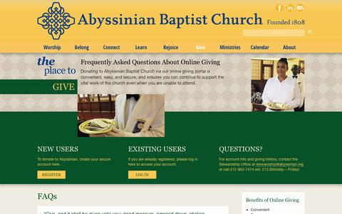 Screenshot of FAQ Page abyssinian.org - FAQs | Abyssinian Baptist Church - captured Oct. 4, 2014