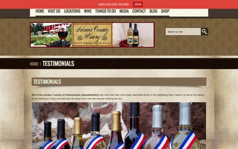 Screenshot of Testimonials Page adamscountywinery.com - Testimonials - Adams County Winery-Adams County Winery - captured Dec. 23, 2015