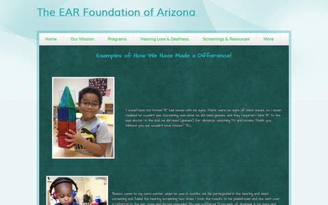 Screenshot of Testimonials Page webs.com - The EAR Foundation of Arizona - Testimonials - captured Oct. 26, 2014