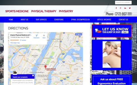 Screenshot of Maps & Directions Page manhattanpainrelief.com - Directions - captured Nov. 6, 2016