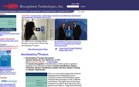 Screenshot of Home Page recognitiontechnologies.com - Recognition Technologies, Inc. -- Speaker Recognition - captured Feb. 14, 2016