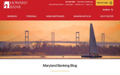 Screenshot of Blog howardbank.com - Maryland Banking Blog | Howard Bank - captured July 23, 2018