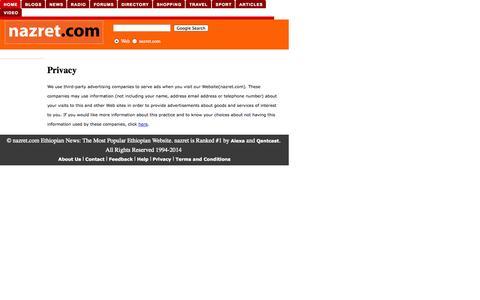 Screenshot of Privacy Page nazret.com - How to contact Nazret.com. - captured Oct. 31, 2014