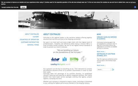 Screenshot of Privacy Page centralog.com - ABOUT CENTRALOG - captured Sept. 29, 2014