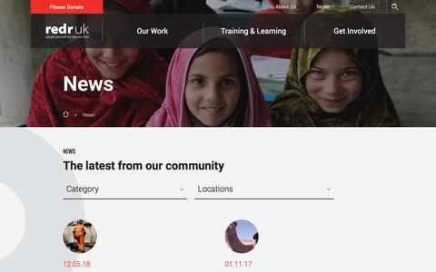 Screenshot of Press Page redr.org.uk - The latest updates on our humanitarian work around the world - RedR - captured Nov. 6, 2017