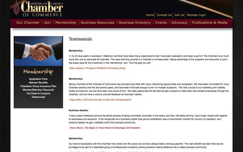 Screenshot of Testimonials Page medicinehatchamber.com - Testimonials | Medicine Hat & District Chamber of Commerce - captured Oct. 5, 2017