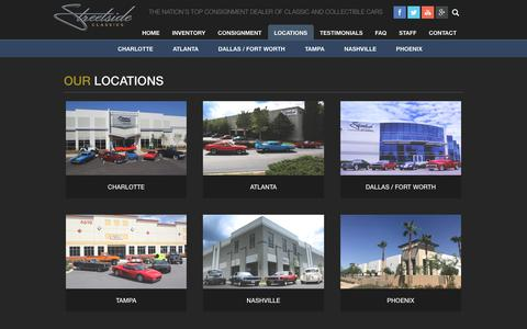 Screenshot of Locations Page streetsideclassics.com - Locations   Streetside Classics - Classic & Exotic Car Consignment Dealer - captured Oct. 13, 2017