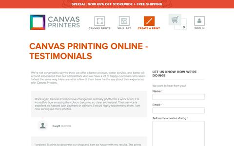 Screenshot of Testimonials Page canvasprintersonline.com.au - Testimonials - Canvas Printers Online Pty Ltd - captured Sept. 23, 2018