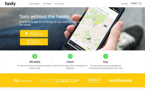 Screenshot of Home Page taxify.eu - | Taxify - Taxis at the push of a button. - captured Sept. 17, 2014