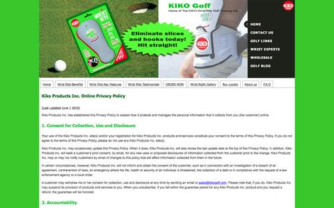 Screenshot of Privacy Page kikogolf.com - Privacy Policy - captured March 6, 2016