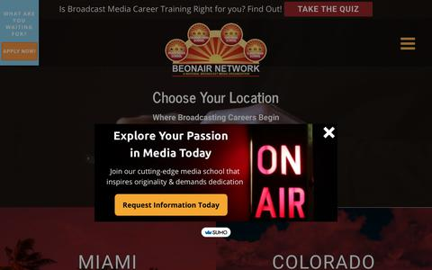 Screenshot of Locations Page beonair.com - Media School Campus Locations | Be On Air - captured Nov. 16, 2018