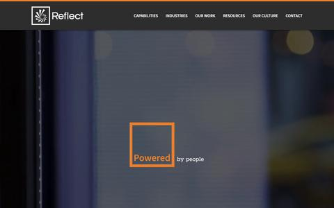 Screenshot of Home Page reflectsystems.com - Digital Signage Solutions | Digital Out Of Home | Reflect - captured July 13, 2019