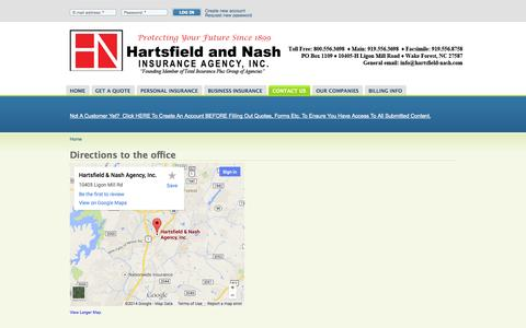 Screenshot of Maps & Directions Page hartsfield-nash.com - Directions to the office   Hartsfield and Nash - captured Oct. 2, 2014