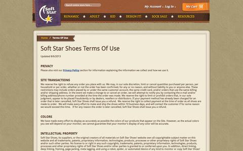 Screenshot of Terms Page softstarshoes.com - Terms Of Use | Soft Star Shoes - captured Sept. 19, 2014