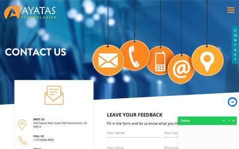 Screenshot of Contact Page ayatas.com - Contact us | Call us (916)836-8099 | Contact Ayatas Technologies - captured Oct. 9, 2017