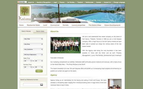 Screenshot of About Page kalaraco.com - Kalara real estate Luxury Villas Thailand for rent sales Holidays Koh Samui - captured Oct. 6, 2014