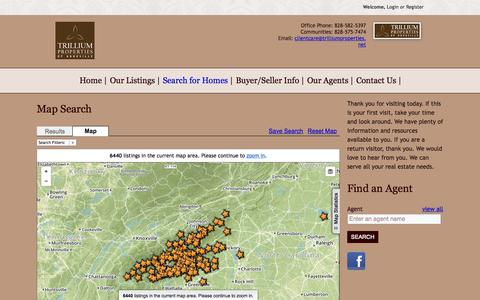 Screenshot of Maps & Directions Page trilliumproperties.net - Map Search | Asheville Homes for Sale | Asheville NC Real Estate | Trillium Properties - captured Aug. 15, 2015