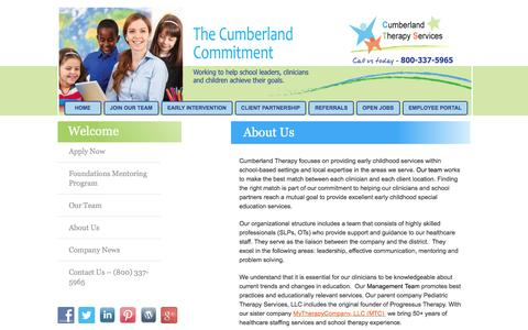 Screenshot of About Page cumberlandtherapy.com - Early Childhood and Healthcare Staffing Services - Chicago, IL, Indianapolis, IN, Baltimore, MD - captured Feb. 2, 2016