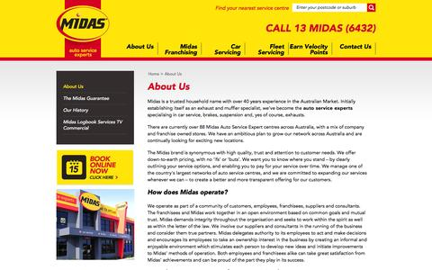 Screenshot of About Page midas.com.au - Midas - Car Service | Brake Service | Auto Service | Exhaust | Suspension - captured Nov. 28, 2016