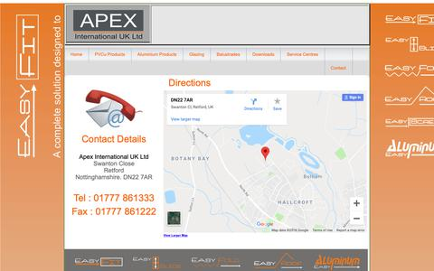 Screenshot of Contact Page apex-international.co.uk - Easy-Fit : PVCu & Aluminium Windows, Doors and Conservatories - captured Oct. 3, 2018