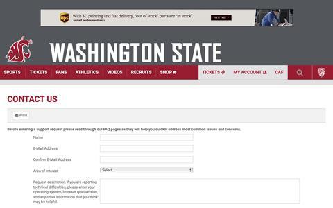 Screenshot of Contact Page wsucougars.com - Contact Us - Washington State University - captured Nov. 15, 2018
