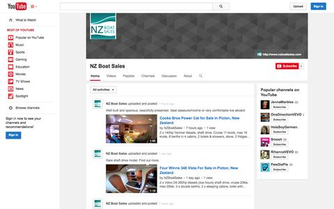 Screenshot of YouTube Page youtube.com - NZ Boat Sales  - YouTube - captured Oct. 26, 2014