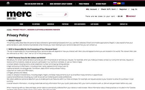 Screenshot of Privacy Page merc.com - Privacy Policy | Modern Clothing & Modern Fashion | Merc Clothing - captured Sept. 20, 2018
