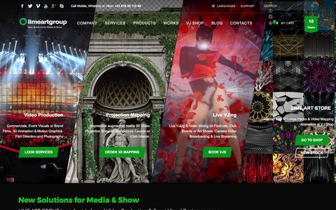 Screenshot of Home Page limeartgroup.com - LIME ART GROUP - Interactive Video Mapping & Event Visuals Production - captured May 20, 2017