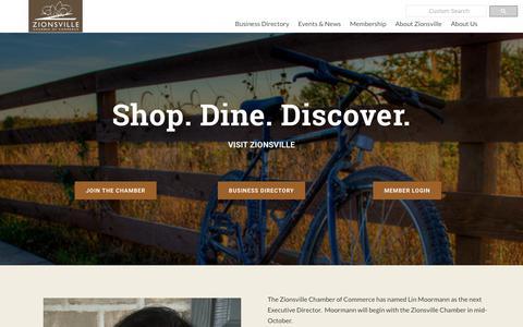 Screenshot of Home Page zionsvillechamber.org - Zionsville Chamber of Commerce | Zionsville Chamber of Commerce | Zionsville, IN 46077 - captured Oct. 18, 2018