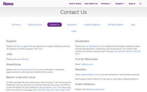 Screenshot of Contact Page roku.com - Contact | Roku - captured Sept. 26, 2018