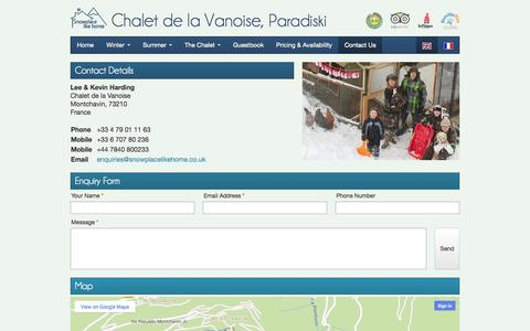 Screenshot of Contact Page snowplacelikehome.co.uk - Contact Us at Chalet de la Vanoise, Montchavin - snowplacelikehome-Chalet de la Vanoise - captured Oct. 26, 2014