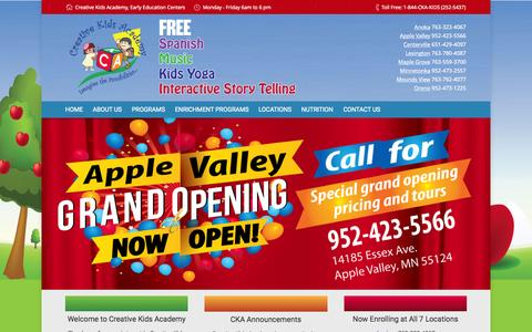 Screenshot of Home Page ckakids.com - Creative Kids Academy | Early childhood education centers - captured June 18, 2015