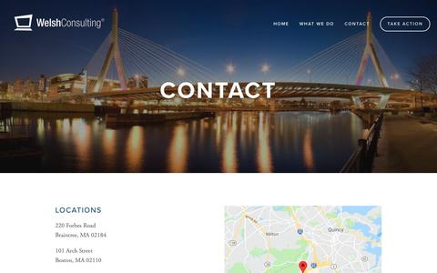 Screenshot of Contact Page welsh.com - Contact — Welsh Consulting - captured Feb. 15, 2019