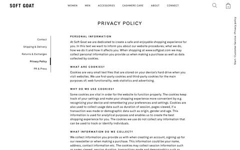 Screenshot of Privacy Page softgoat.com - Privacy Policy - Soft Goat Online Cashmere - captured Oct. 18, 2018