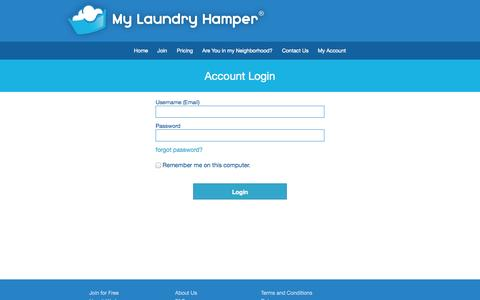 Screenshot of Signup Page Login Page mylaundryhamper.com - My Laundry Hamper — Laundry and Dry Cleaning Pickup and Delivery with a Personal Touch! - captured Oct. 26, 2014