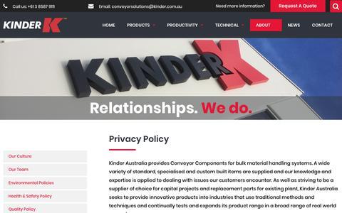 Screenshot of Privacy Page kinder.com.au - Privacy Policy - Kinder Australia Pty Ltd - captured Oct. 15, 2018