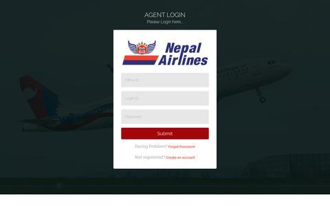 Screenshot of Login Page nepalairlines.com.np - Login - captured Oct. 18, 2018