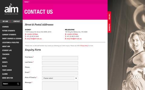 Screenshot of Contact Page aim.edu.au - AIM Music School & Music Courses | Australian Institute of Music Sydney - captured Sept. 25, 2014
