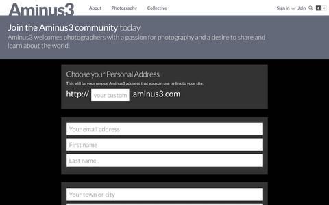 Screenshot of Signup Page aminus3.com - Setup your Image a Day website - captured Dec. 25, 2015