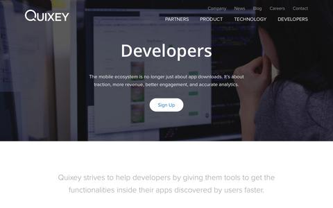 Screenshot of Developers Page quixey.com - Quixey | Developers - captured Nov. 18, 2015