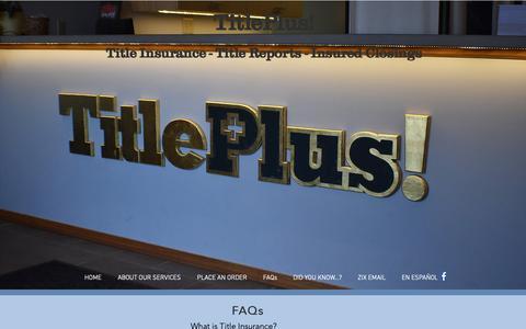Screenshot of FAQ Page titleplus.com - titleplusbloomington | FAQs - captured Oct. 20, 2018