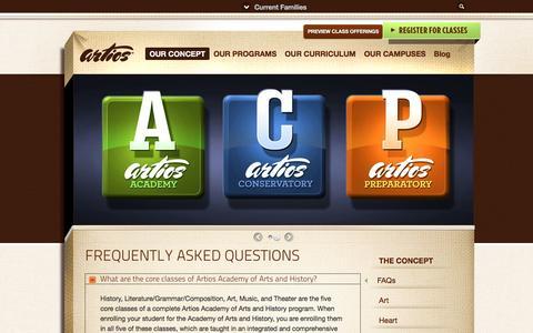 Screenshot of FAQ Page artiosacademies.com - FAQs - captured Nov. 21, 2016