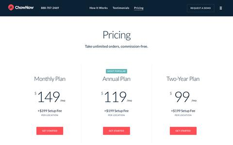 Screenshot of Pricing Page chownow.com - ChowNow | Online Ordering System Pricing & Information - captured March 7, 2019