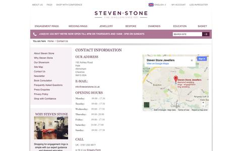 Screenshot of Contact Page Maps & Directions Page stevenstone.co.uk - Steven stone contact information - captured Oct. 25, 2014