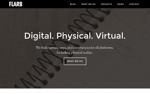 Screenshot of Home Page flarb.com - FLARB – Creating digital, physical, and virtual experiences. - captured Sept. 30, 2014